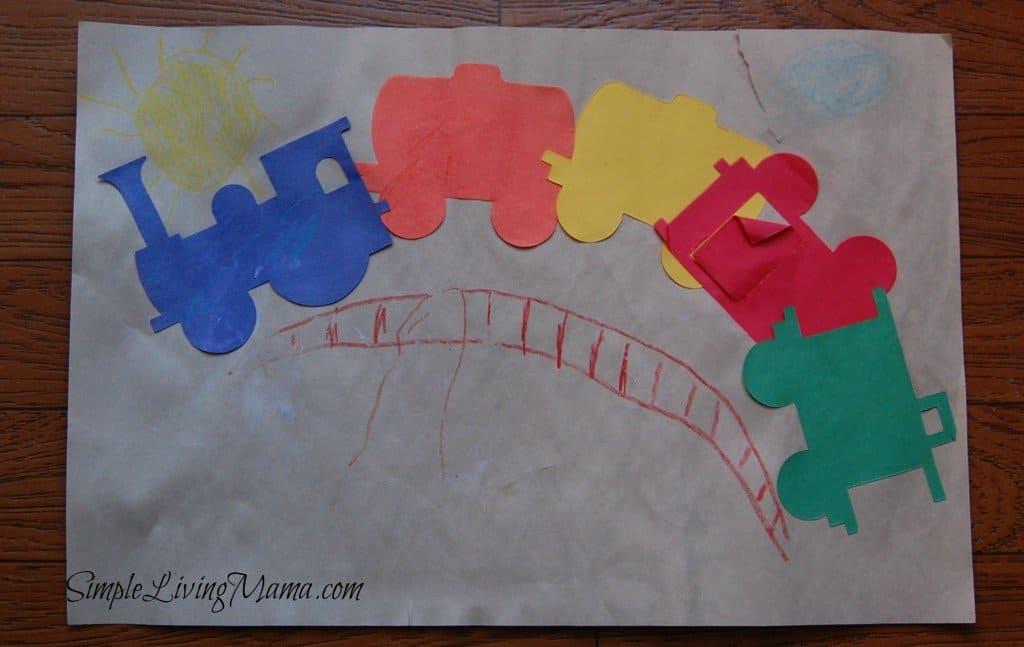 preschool train-themed craft