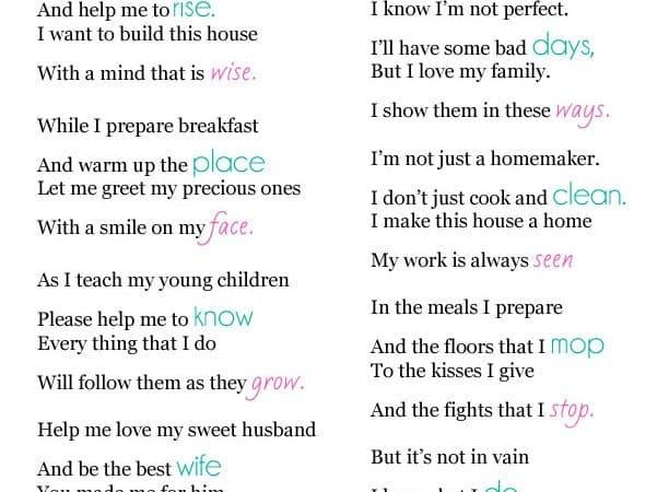 A Homemaker's Prayer