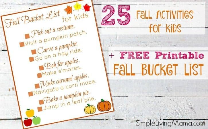 photo regarding Fall Printable Activities named Free of charge Printable Drop Bucket Listing for Small children + 25 Slide