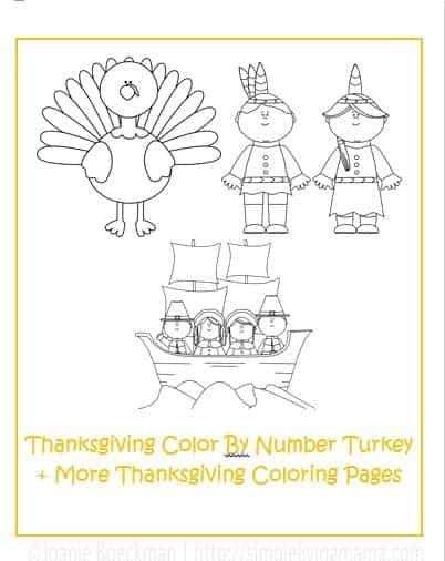 Thanksgiving activities for kids free printable color by for Thanksgiving color by number pages