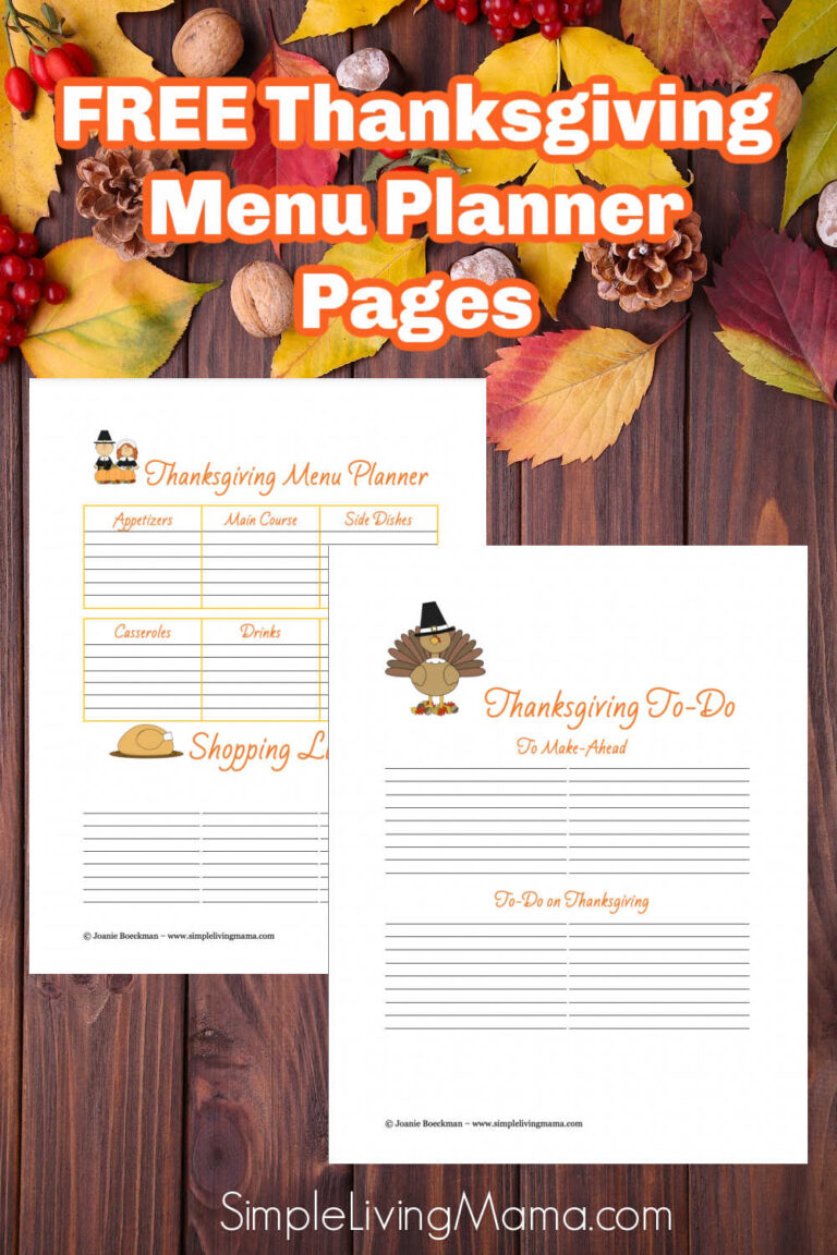 Free Thanksgiving Menu Planner Pages