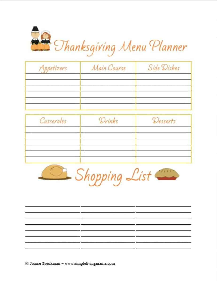 free printable thanksgiving menu planner simple living mama. Black Bedroom Furniture Sets. Home Design Ideas