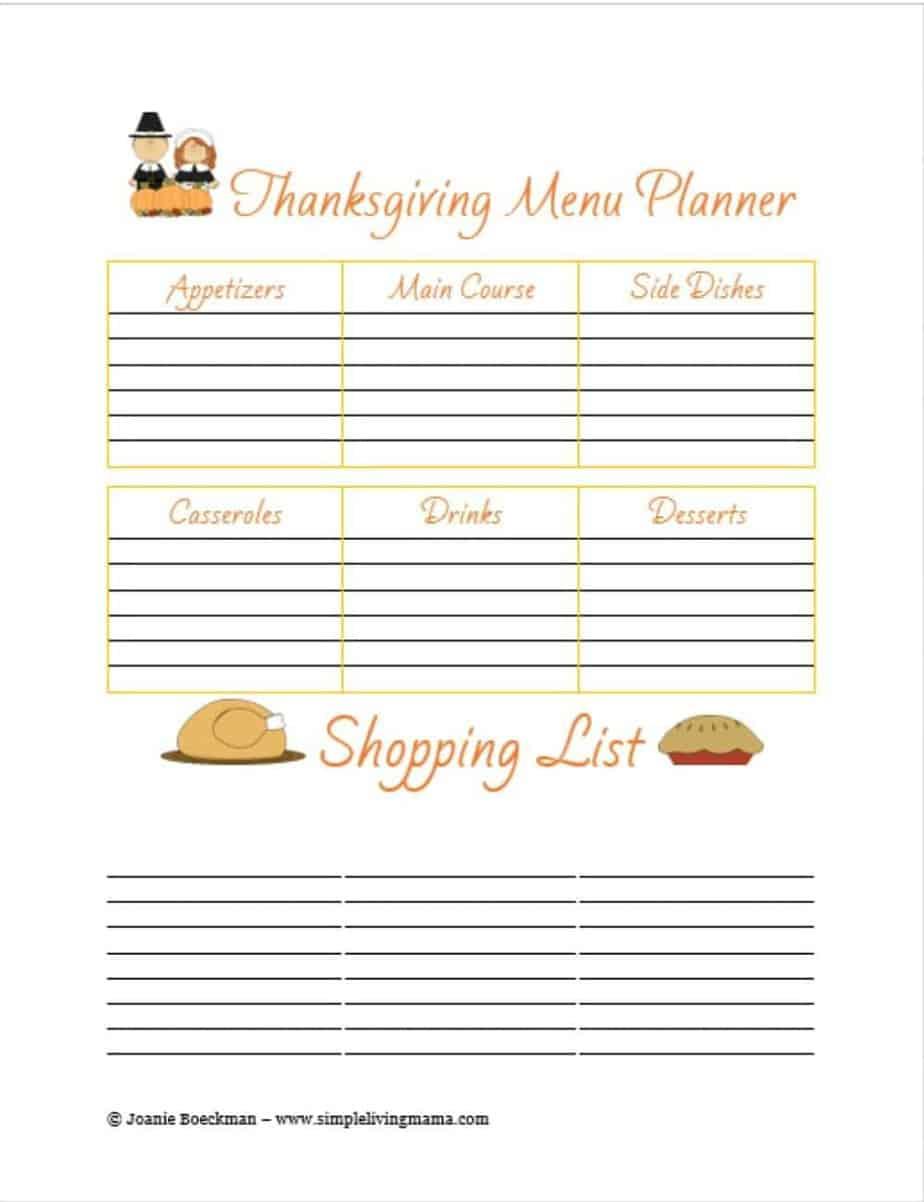 FREE Printable Thanksgiving Menu Planner