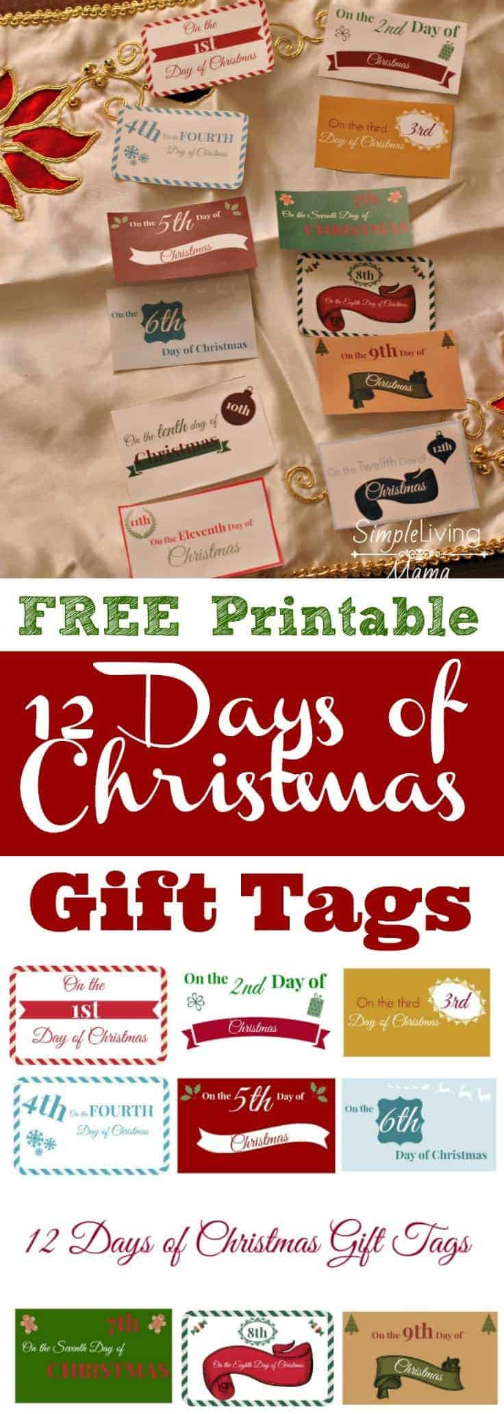 image regarding 12 Days of Christmas Printable Tags identify The 12 Times of Xmas Strategies + Printable Present Tags
