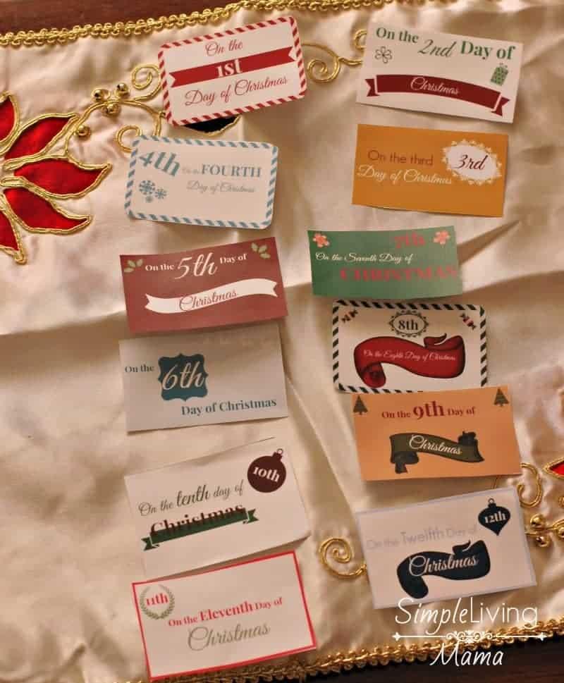 The 12 days of christmas printable gift tags