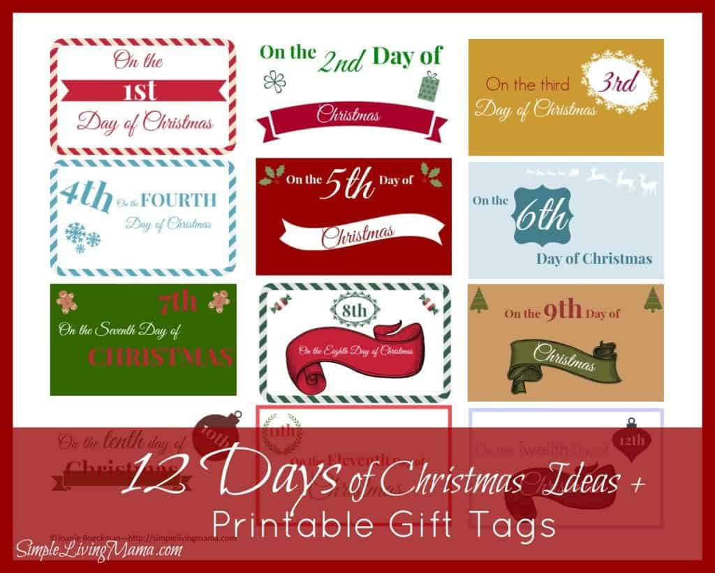 The 12 Days of Christmas Ideas + Printable Gift Tags - Simple Living ...