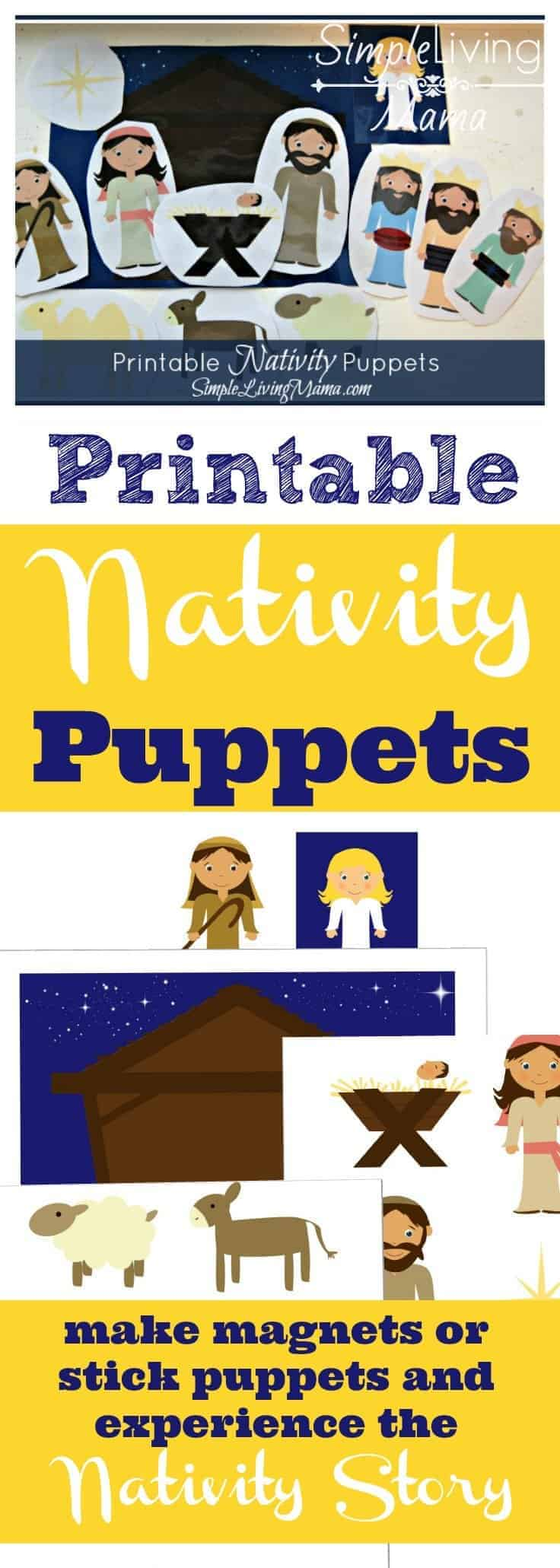 Printable nativity puppets. Just print, laminate, and cut. Then get ready to let your kids reenact the true Christmas story!