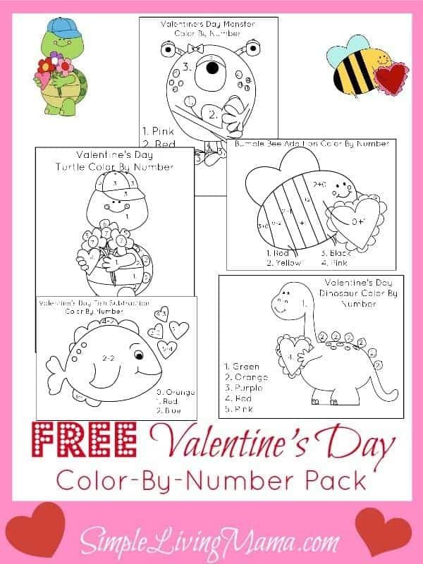 Free Valentine's Day Color By Number Sheets