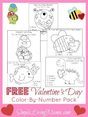 Free Valentine's Day Color By Number Pack for Kids