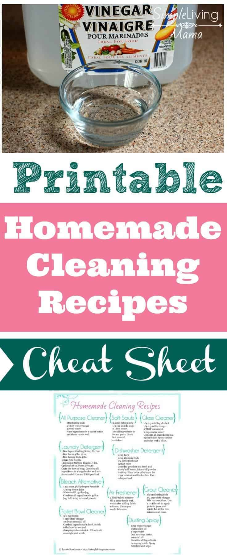 No more scouring the internet for homemade cleaning recipes. Find all of your favorite recipes on this one sheet!