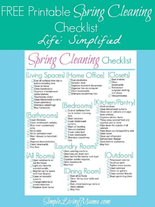 Spring Cleaning Checklist  Life Simplified  Simple Living Mama