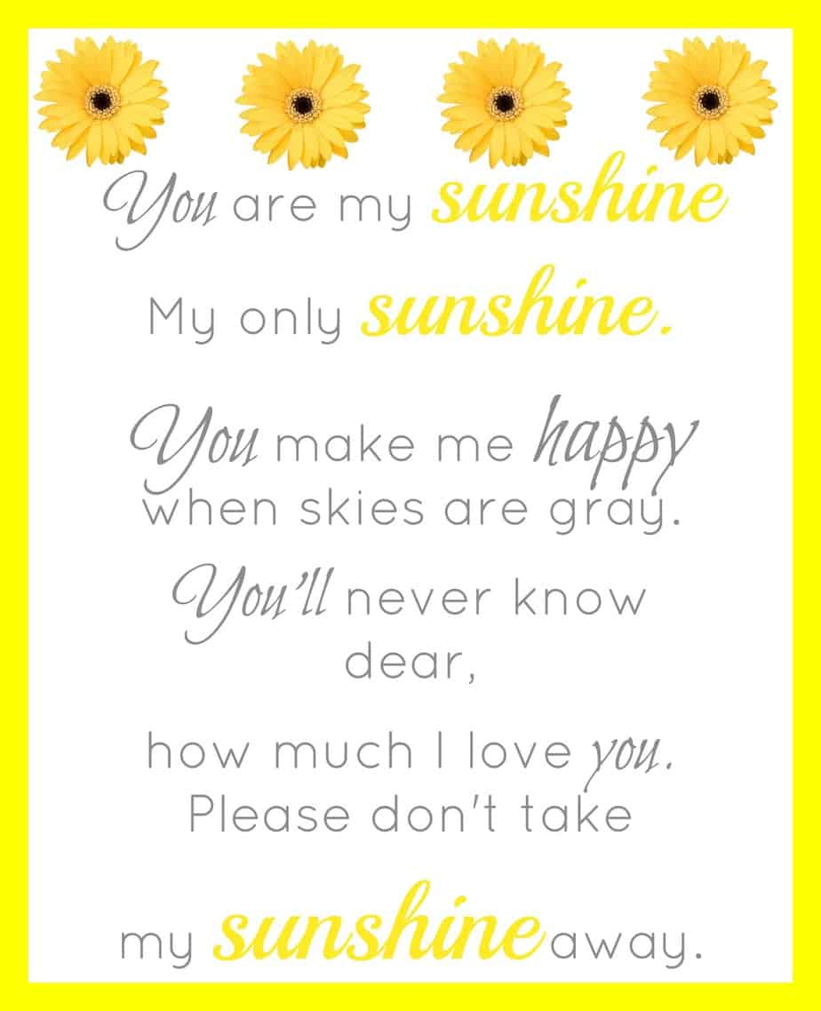 You Are My Sunshine Printable Simple Living Mama