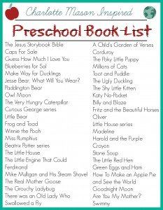 Charlotte Mason inspired preschool book list
