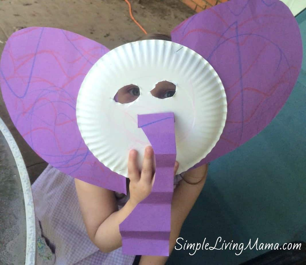 We chose to make an elephant mask from a paper plate and construction paper. The kids had fun pretending to be elephants and even did an elephant walk out ... & E is for Elephant - MFW K - Simple Living Mama