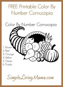 Color By Number Cornucopia - Simple Living Mama