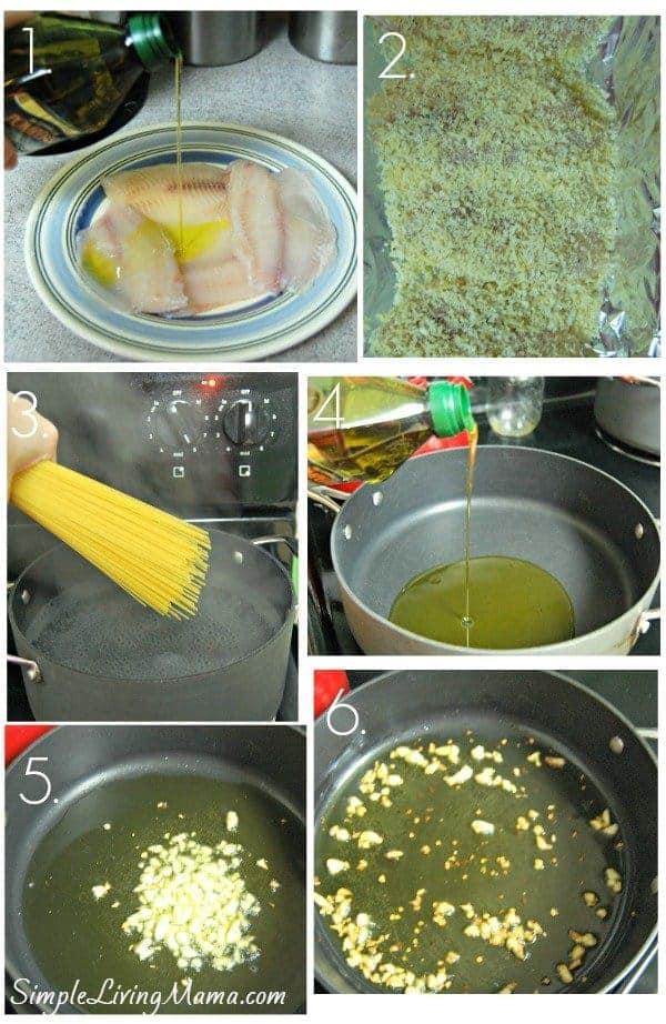 parmesan crusted tilapia over pasta