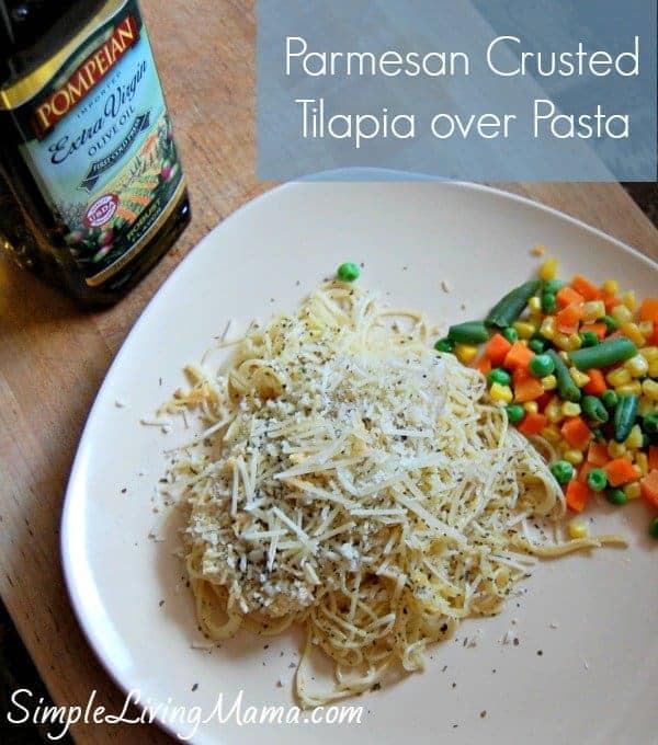 Parmesan Crusted Tilapia over Pasta | simplelivingmama.com