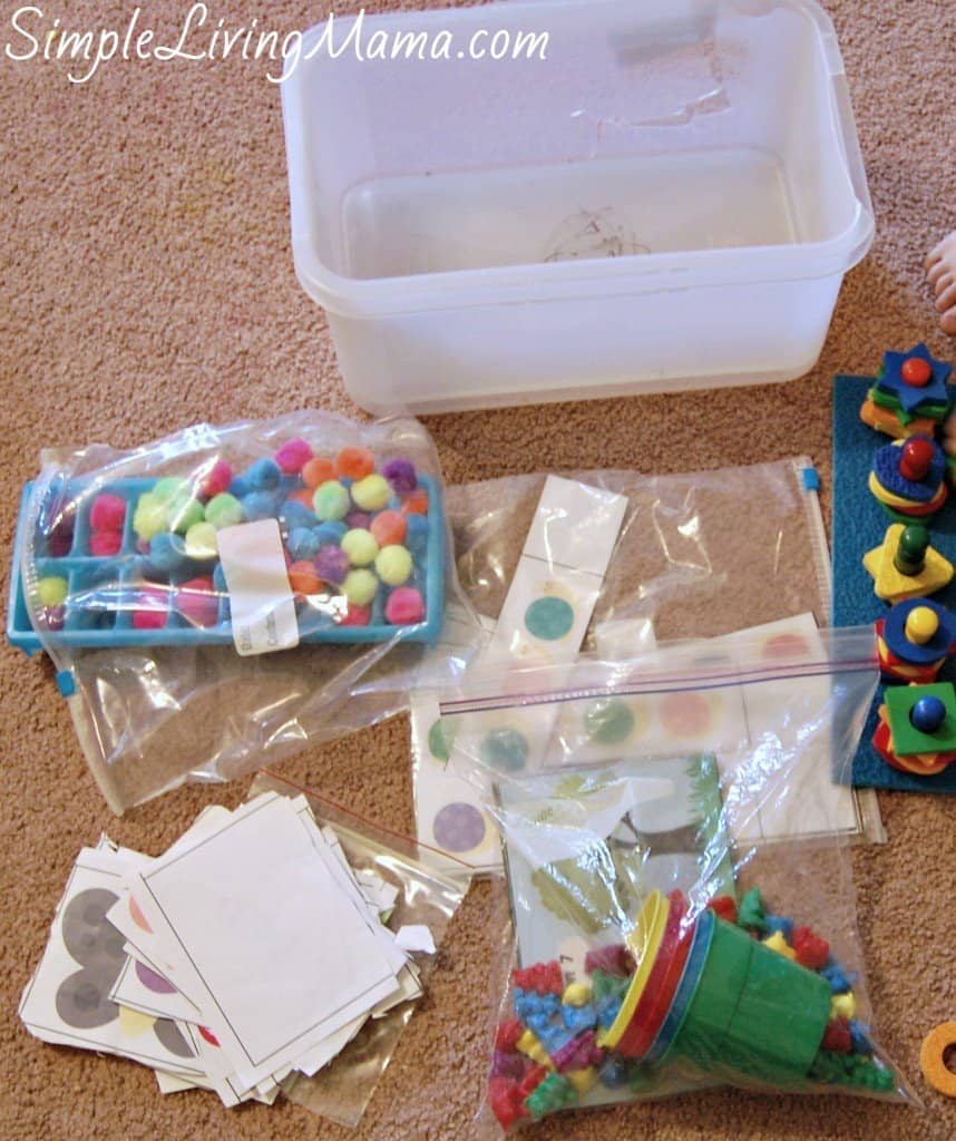 Homeschool preschool boxes to occupy older little ones during homeschool time.