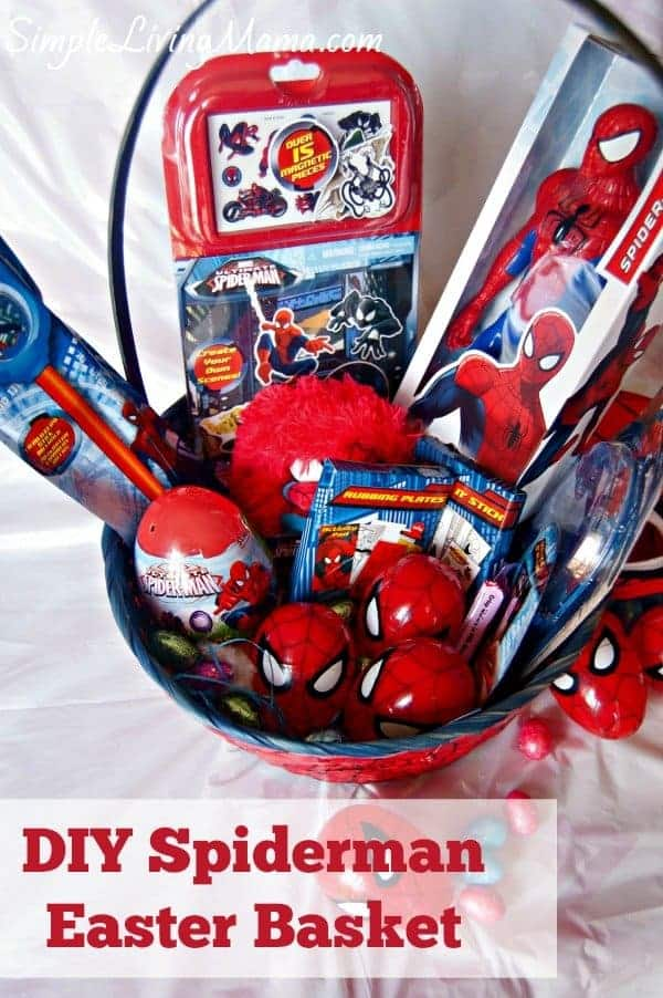Diy spiderman easter basket simple living mama easter has always been one of my favorite holidays i love creating themed easter baskets for my children i do not go overboard on easter but i do enjoy negle Choice Image