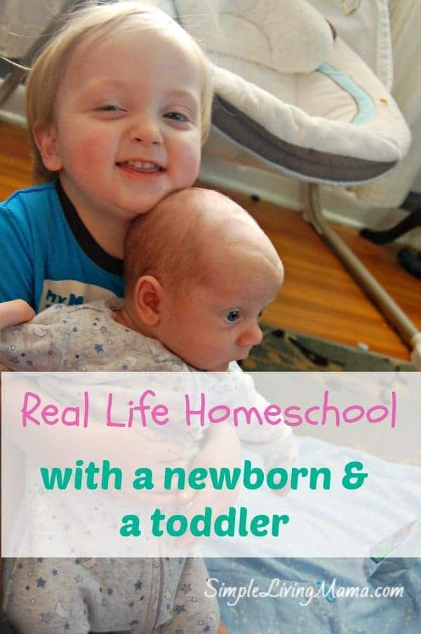 Learn how to homeschool with a newborn and a toddler in your house!