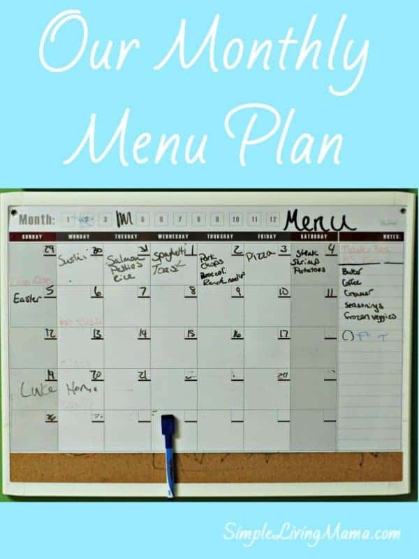 our monthly menu plan