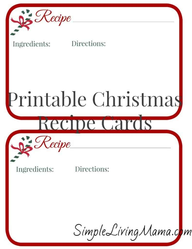 picture about Printable Christmas Recipe Cards identified as Xmas Recipe Playing cards - Absolutely free Printable - Easy Residing Mama