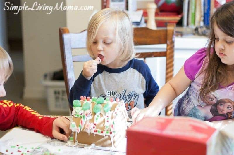 Building a gingerbread house together