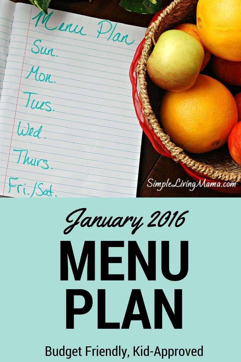 January 2016 Menu Plan