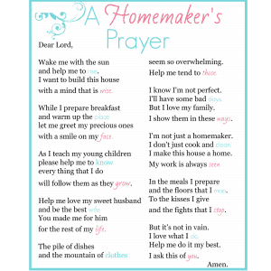 a homemaker's prayer display