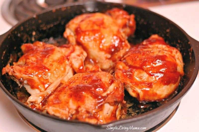 skillet bbq chicken thighs on the stovetop