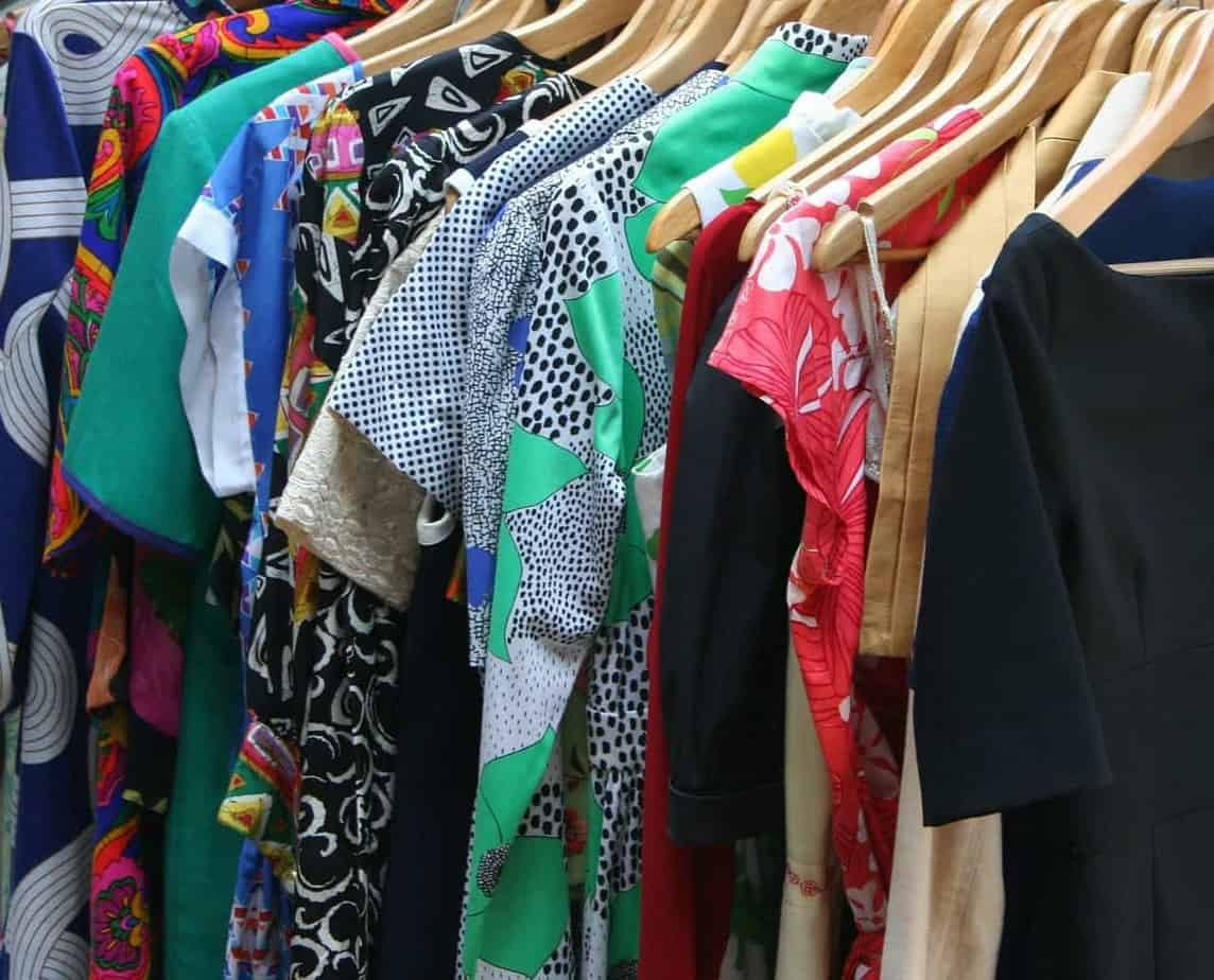 Dresses hanging in a closet