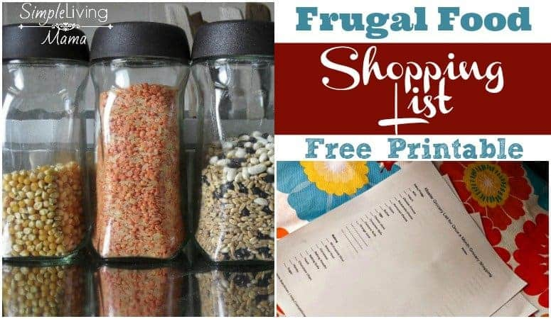 Frugal food shopping list with a free printable.