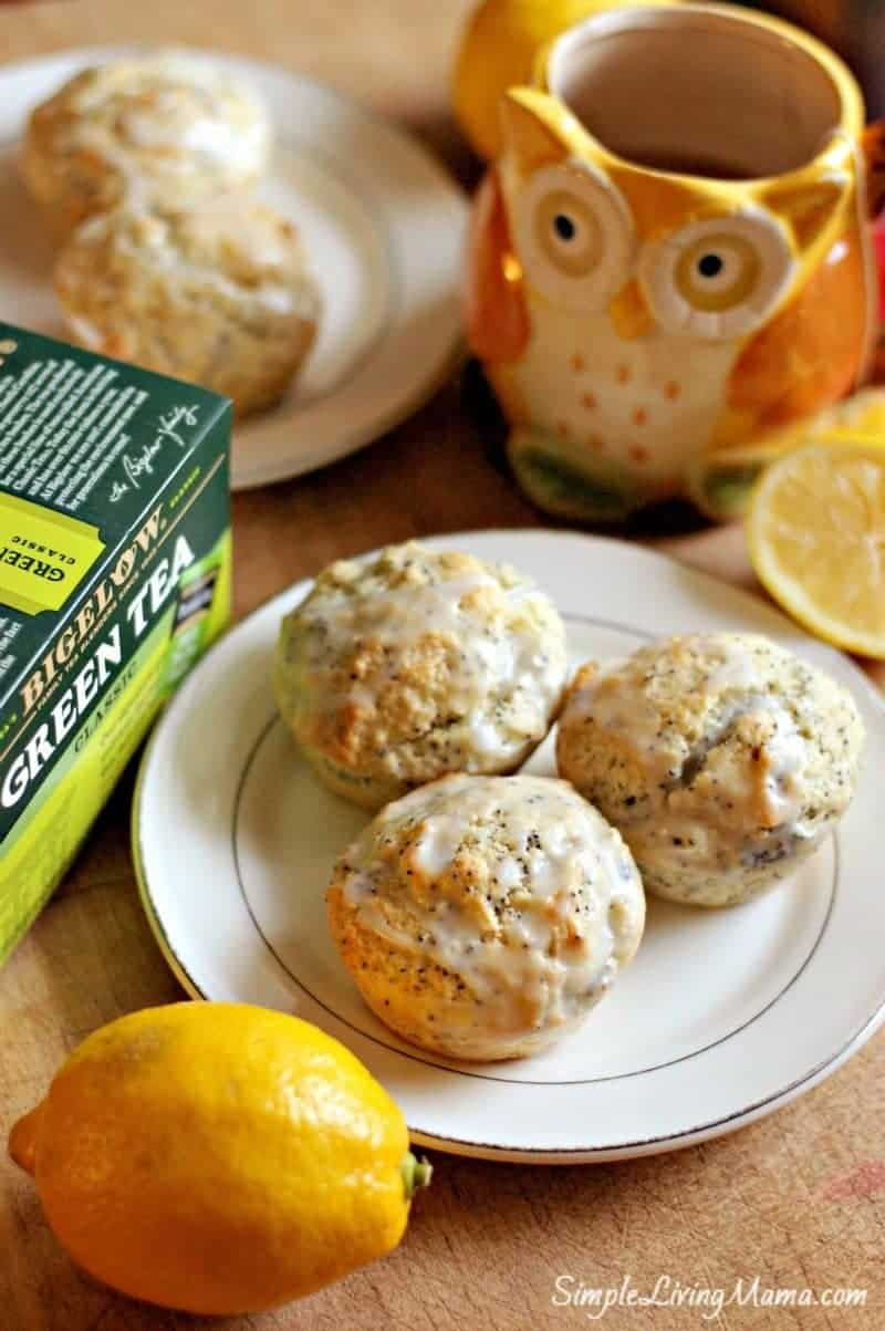 Delicious and healthy lemon poppy seed muffins for teatime!