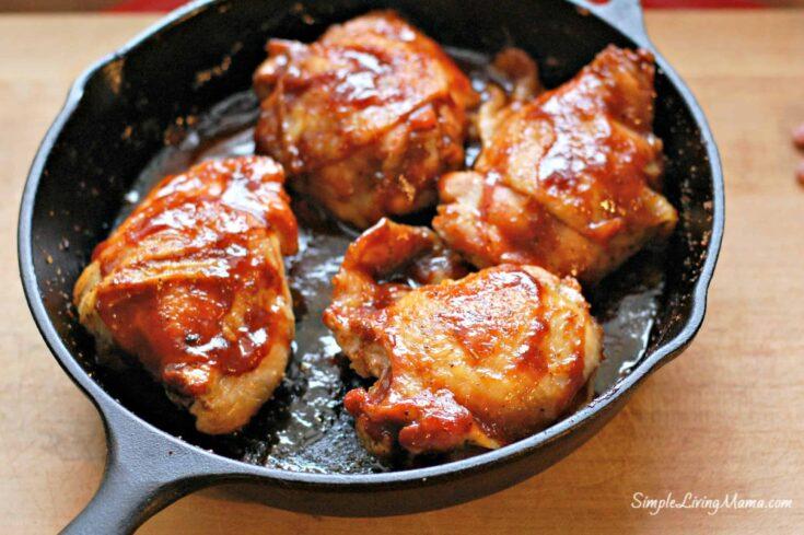 Skillet BBQ Chicken Thighs