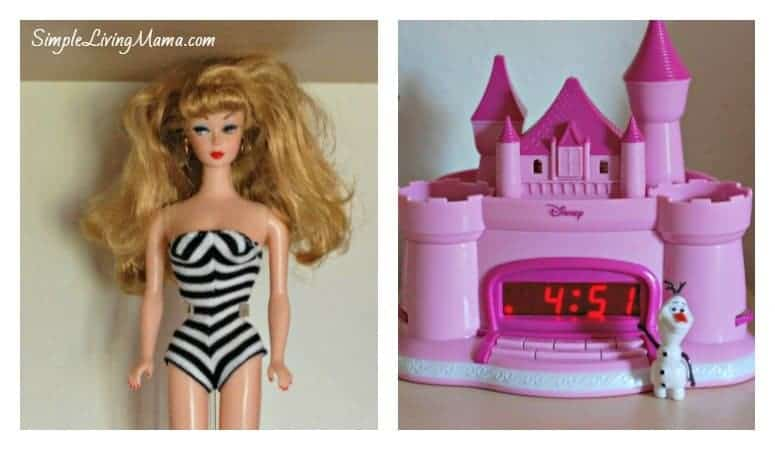 Vintage barbie and a castle clock