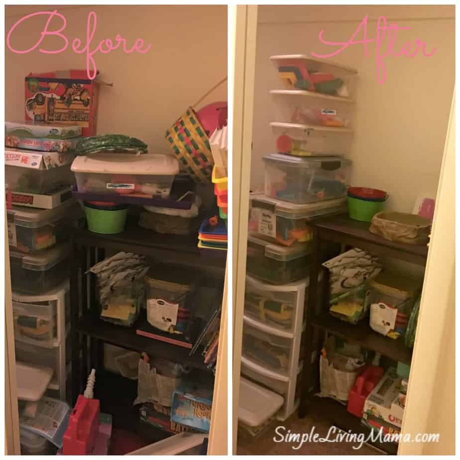 Homeschool closet before and after