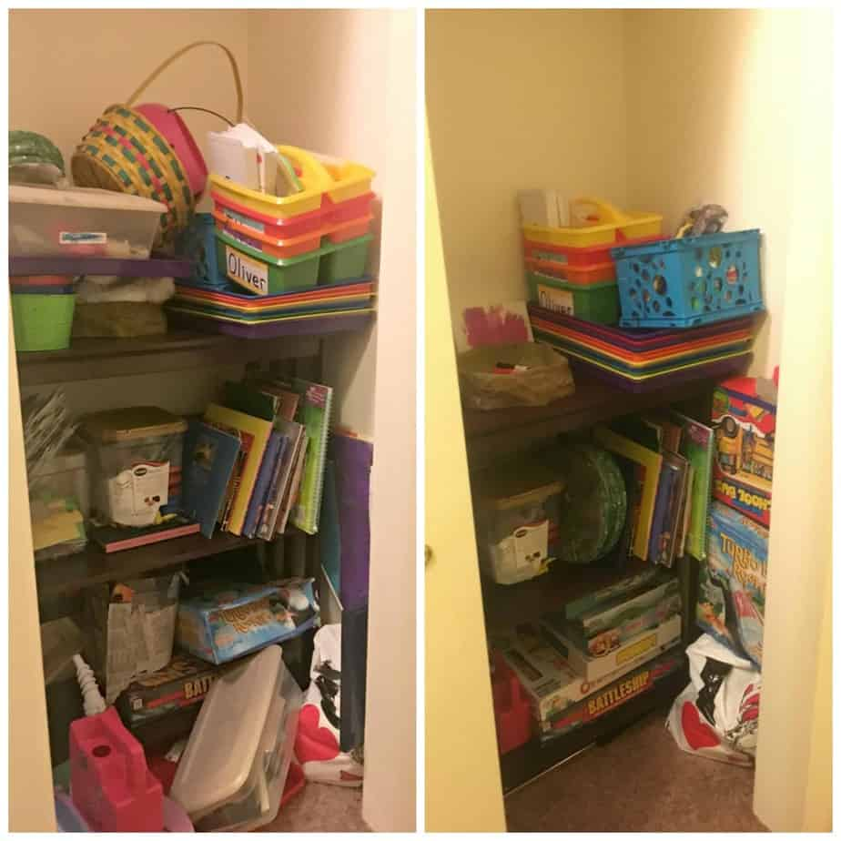 Homeschool closet organization