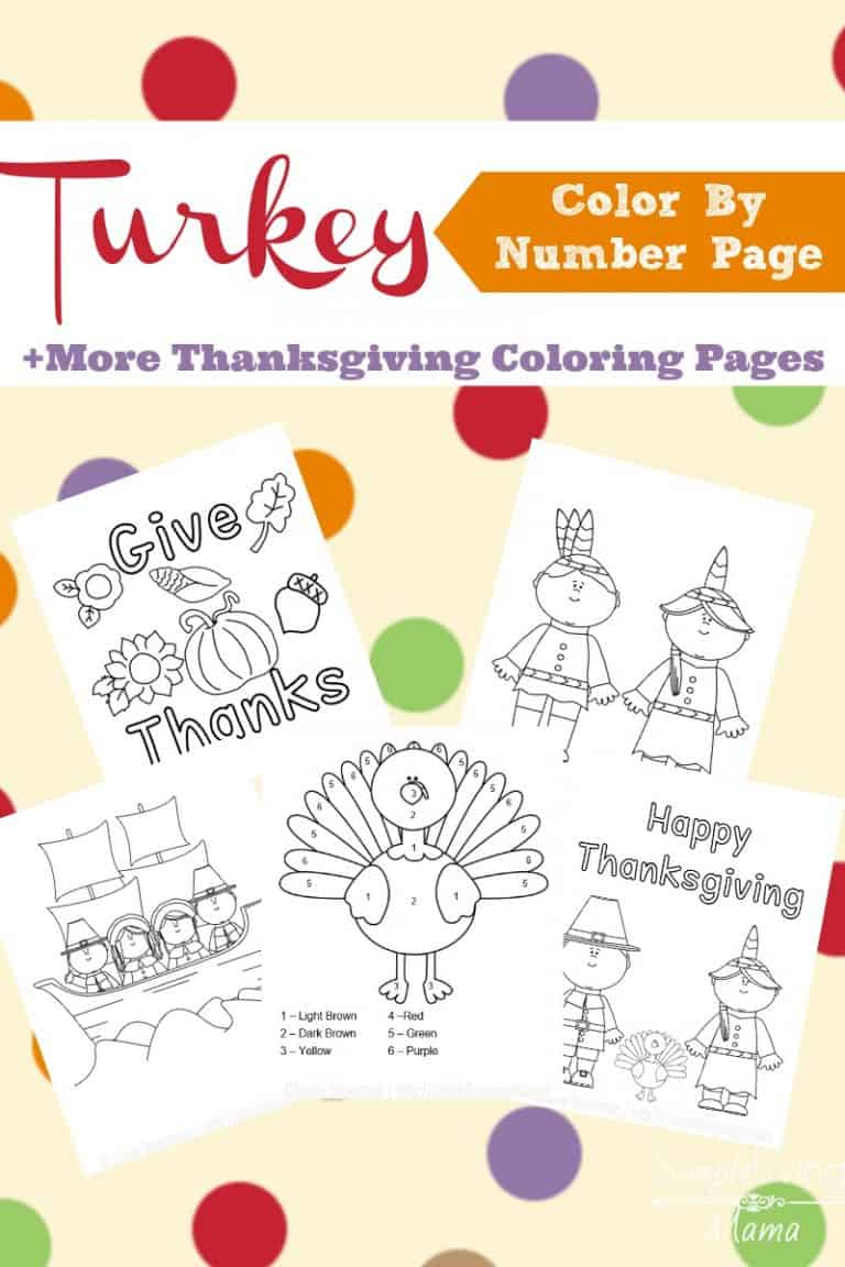 A turkey color by number and more Thanksgiving coloring pages printable pack.