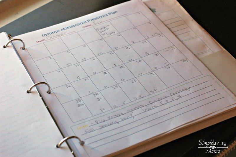 Monthly preschool calendar