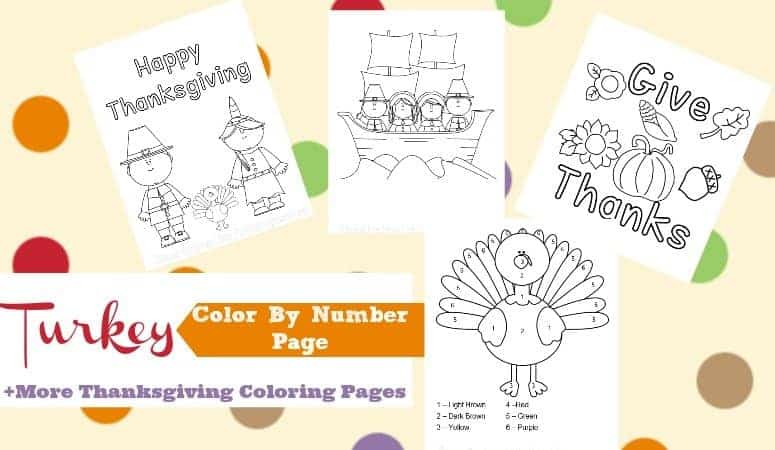 Thanksgiving Color By Number Turkey + More Coloring Pages