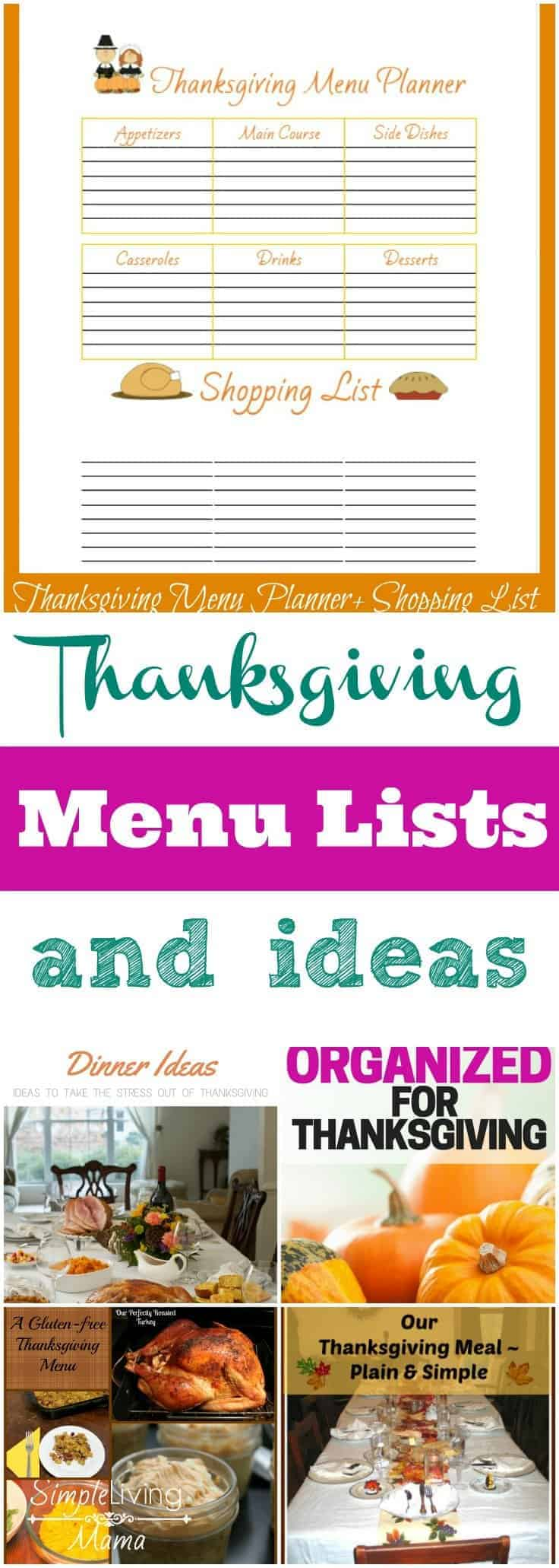 Thasnksgiving menu lists and ideas for an amazing Thanksgiving meal. Whether it's your first Thanksgiving, or your hundredth, you will find great ideas!
