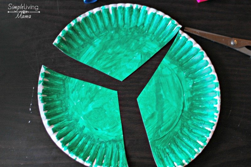 Cut the paper plate in three triangles. & Paper Plate Christmas Tree Craft - Simple Living Mama