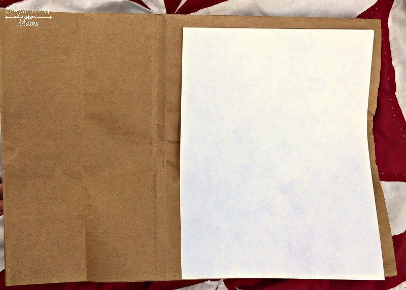 Prepare to cut the paper bag for the DIY nature journal.