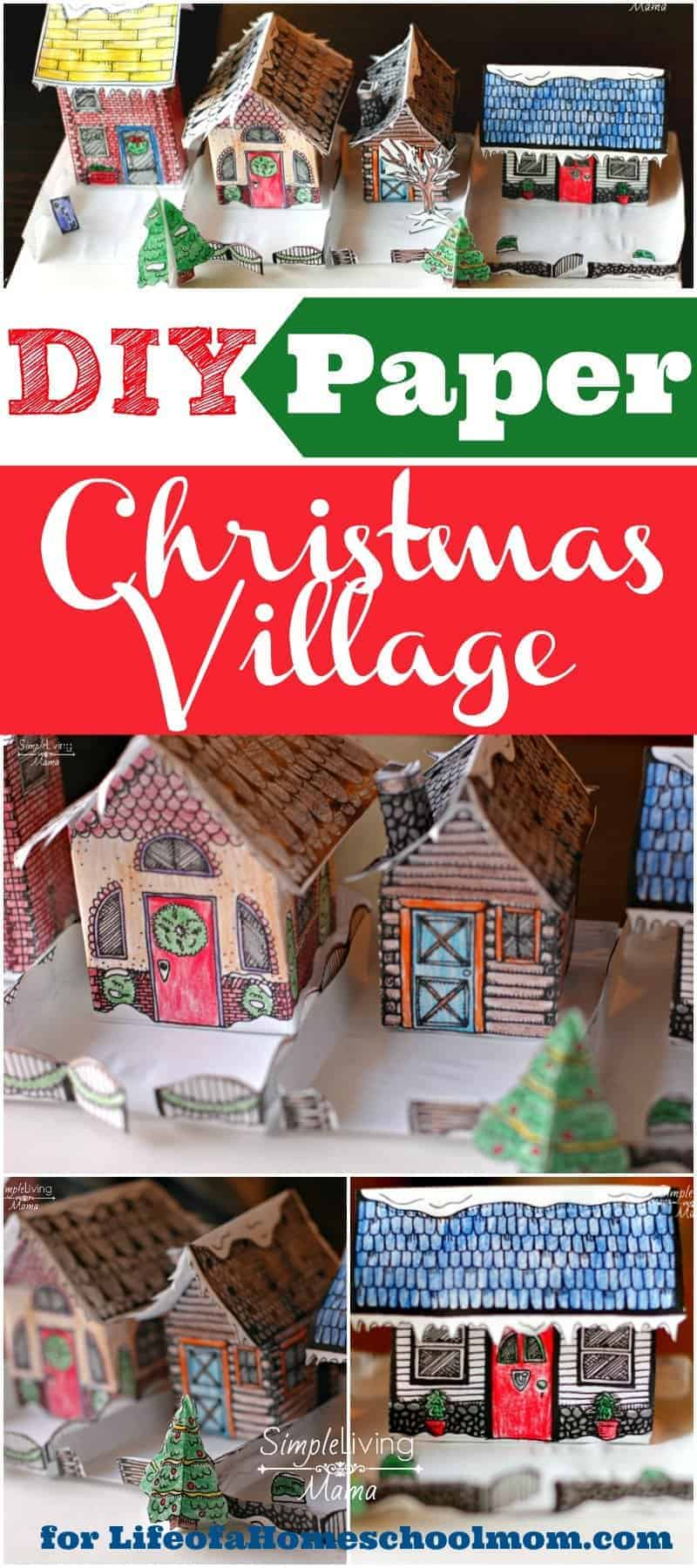 A DIY paper Christmas village craft that you can create with your kids. This is an incredible craft for expressing creativity and making memories!