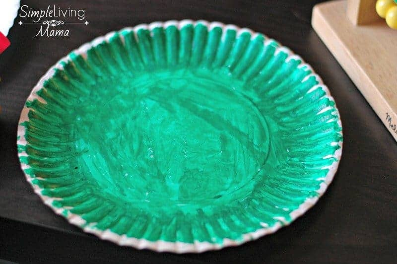 Green paper plate.