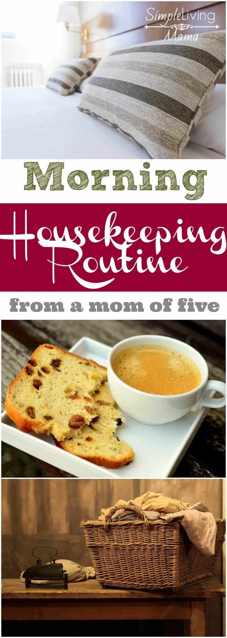 A morning housekeeping routine from a homeschool mom of five. This routine will help you get your day started in the right direction.