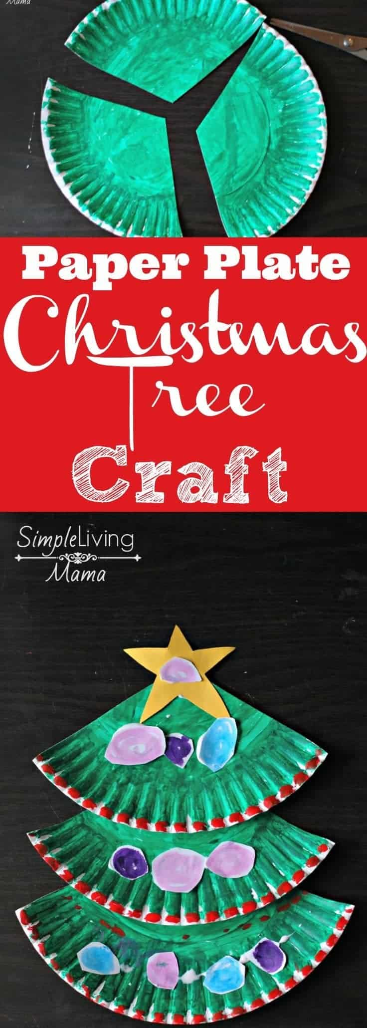 Paper plate christmas tree craft simple living mama for Free christmas crafts for kids