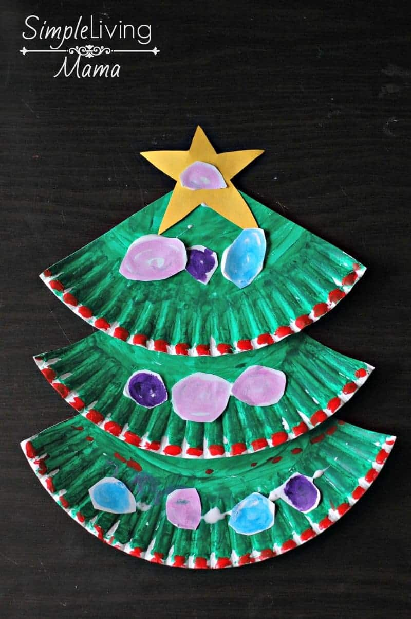 A fun Paper Plate Christmas Tree craft & Paper Plate Christmas Tree Craft - Simple Living Mama