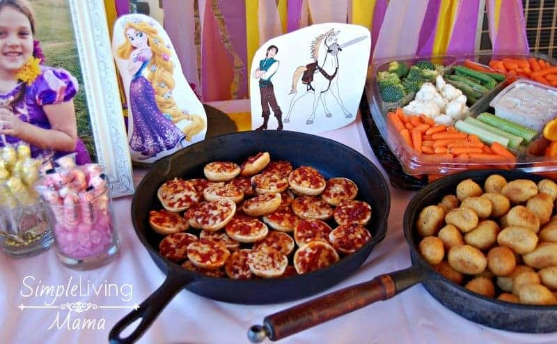 Tabgled birthday party food in skillets