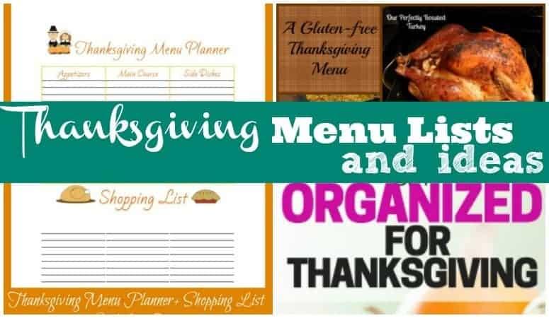 Thanksgiving menu lists